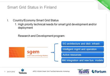 Smart Grid Status in Finland I.Country/Economy Smart Grid Status 1.High priority technical needs for smart grid development and/or deployment Research.