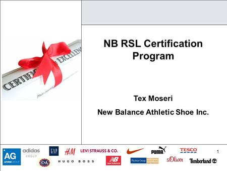 1 NB RSL Certification Program Tex Moseri New Balance Athletic Shoe Inc.