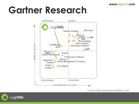 Logi XML www.logixml.com — Gartner Magic Quadrant for BI platforms 2013 leaders ability to execute completeness of vision Logi XML Tableau Software Tibco.