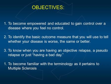 OBJECTIVES: 1.To become empowered and educated to gain control over a disease where you feel no control. 2.To identify the basic outcome measure that you.