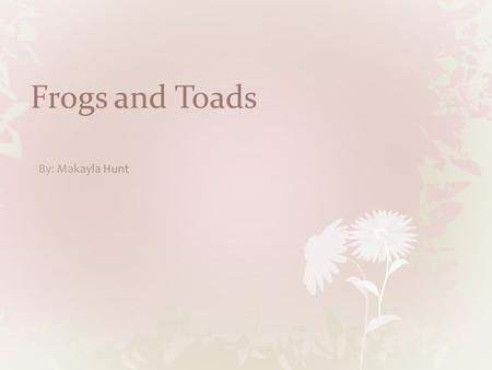 Frogs and Toads. Our Frog Objectives Identification.