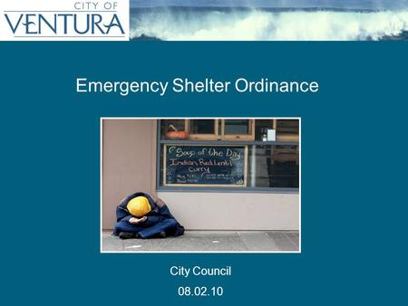 Emergency Shelter Ordinance City Council 08.02.10.