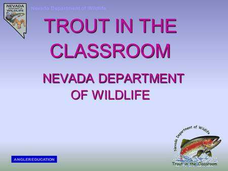 TROUT IN THE CLASSROOM NEVADA DEPARTMENT OF WILDLIFE Nevada Department of Wildlife ANGLER EDUCATION.