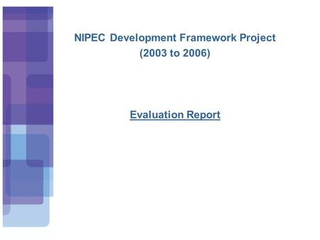 NIPEC Development Framework Project (2003 to 2006) Evaluation Report.
