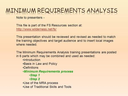 Note to presenters - This file is part of the FS Resources section at:   This presentation should.