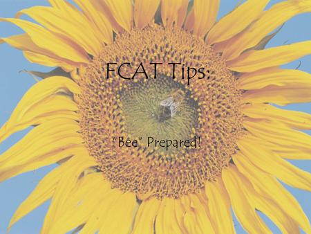 "FCAT Tips: ""Bee"" Prepared!. Where do we start??? Following these tips will ""bee"" helpful in you ""bee-ing"" a success on the Florida Comprehensive Assessment."