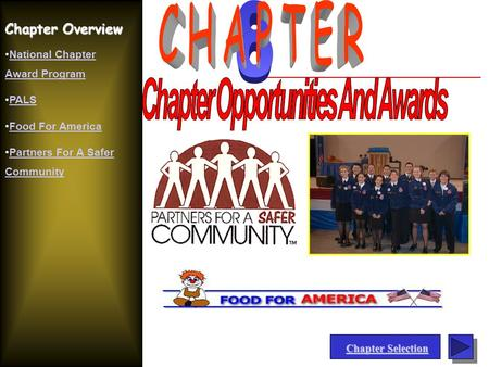 Chapter Overview National Chapter Award ProgramNational Chapter Award Program PALS Food For America Partners For A Safer CommunityPartners For A Safer.