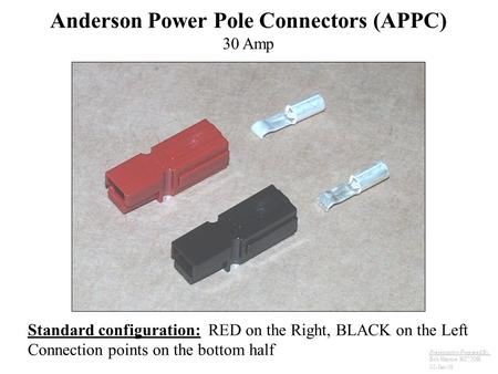 Anderson Power Pole Connectors (APPC) 30 Amp Standard configuration: RED on the Right, BLACK on the Left Connection points on the bottom half Presentation.