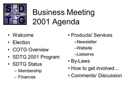 Business Meeting 2001 Agenda