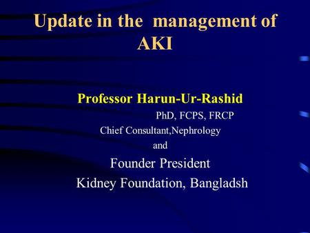 Update in the management of AKI