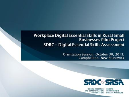 Workplace Digital Essential Skills in Rural Small Businesses Pilot Project SDRC – Digital Essential Skills Assessment Orientation Session, October 30,