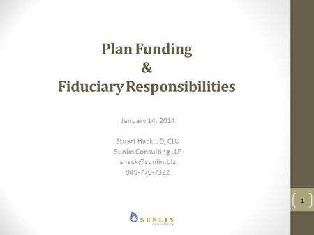 Plan Funding & Fiduciary Responsibilities