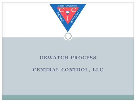 UBWATCH PROCESS CENTRAL CONTROL, LLC. UBWatch Process Submits claim into UBWatch Billing Reviews exceptions and fixes any coding issues Gatekeeper Allows.