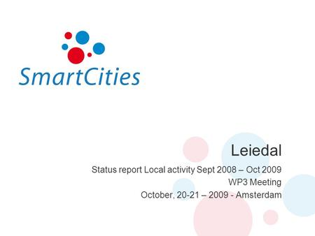 Leiedal Status report Local activity Sept 2008 – Oct 2009 WP3 Meeting October, 20-21 – 2009 - Amsterdam.