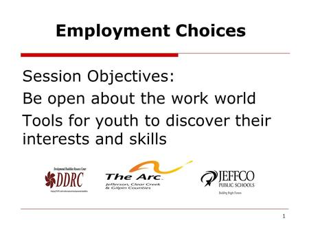 Employment Choices Session Objectives: Be open about the work world Tools for youth to discover their interests and skills 1.