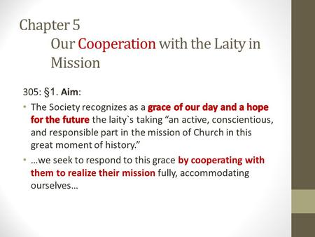Chapter 5 Our Cooperation with the Laity in Mission.