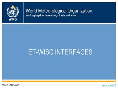 World Meteorological Organization Working together in weather, climate and water ET-WISC INTERFACES WMO; OBS/WISwww.wmo.int WMO.