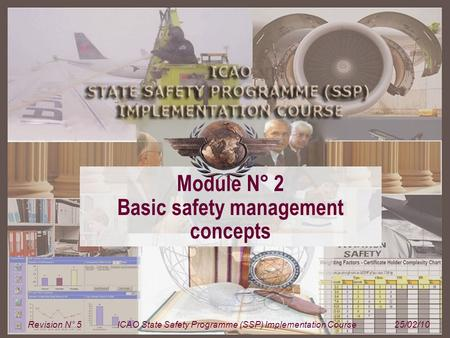 Module N° 2ICAO State Safety Programme (SSP) Implementation Course 1 Module N° 2 Basic safety management concepts Revision N° 5ICAO State Safety Programme.