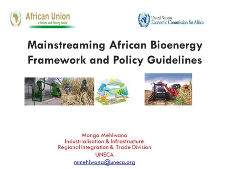 Mainstreaming African Bioenergy Framework and Policy Guidelines Monga Mehlwana Industrialisation & Infrastructure Regional Integration & Trade Division.