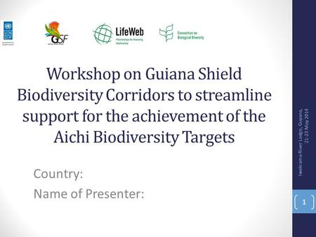 Workshop on Guiana Shield Biodiversity Corridors to streamline support for the achievement of the Aichi Biodiversity Targets Country: Name of Presenter: