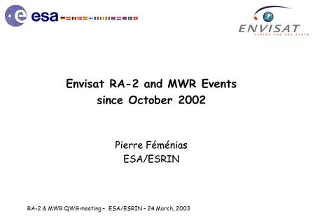 RA-2 & MWR QWG meeting – ESA/ESRIN – 24 March, 2003 Envisat RA-2 and MWR Events since October 2002 Pierre Féménias ESA/ESRIN.