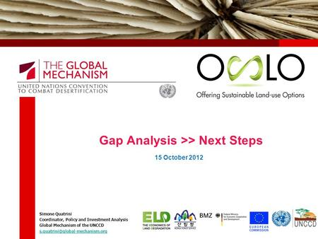 Gap Analysis >> Next Steps Simone Quatrini Coordinator, Policy and Investment Analysis Global Mechanism of the UNCCD 15.