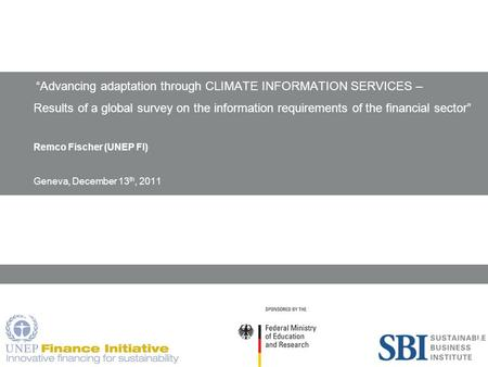 "1 ""Advancing adaptation through CLIMATE INFORMATION SERVICES – Results of a global survey on the information requirements of the financial sector"" Remco."