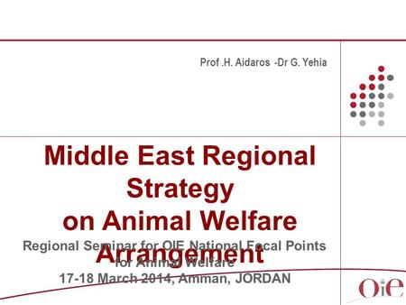 Middle East Regional Strategy on Animal Welfare Arrangement Prof.H. Aidaros -Dr G. Yehia Regional Seminar for OIE National Focal Points for Animal Welfare.