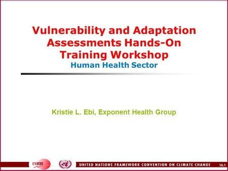 1A.1 Vulnerability and Adaptation Assessments Hands-On Training Workshop Human Health Sector Kristie L. Ebi, Exponent Health Group.