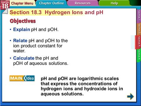Section 18.3 Hydrogen Ions and pH