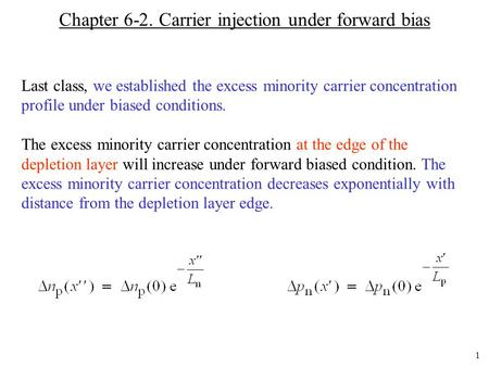 Chapter 6-2. Carrier injection under forward bias