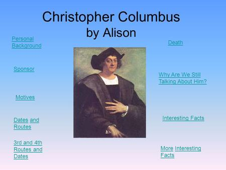 Christopher Columbus by Alison Motives Personal Background Sponsor DatesDates and Routesand Routes 3rd and 4th Routes and Dates Death Why Are We Still.