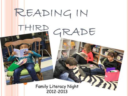R EADING IN T HIRD GRADE Family Literacy Night 2012-2013.