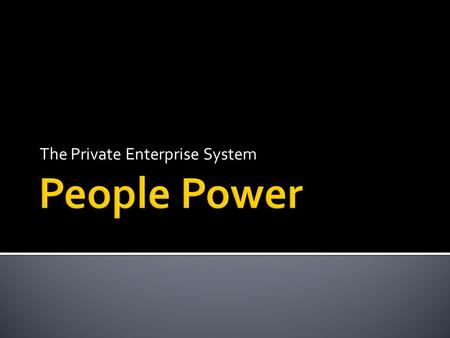 The Private Enterprise System