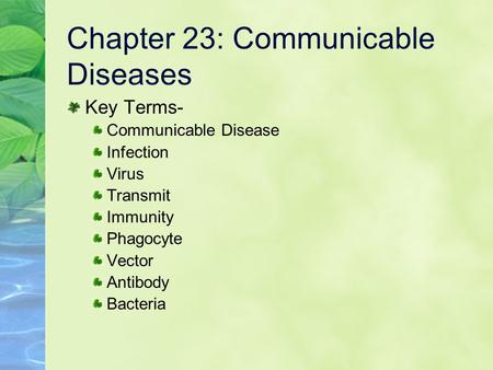 Chapter 23: Communicable Diseases Key Terms- Communicable Disease Infection Virus Transmit Immunity Phagocyte Vector Antibody Bacteria.