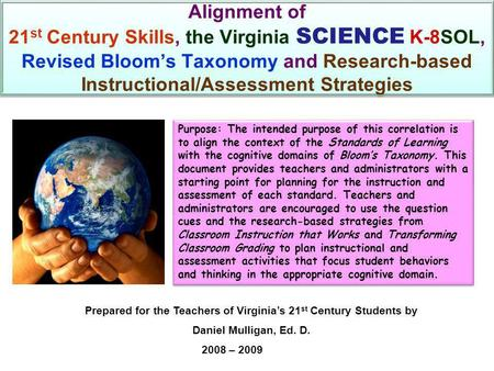 Alignment of 21 st Century Skills, the Virginia SCIENCE K-8SOL, Revised Bloom's Taxonomy and Research-based Instructional/Assessment Strategies Purpose: