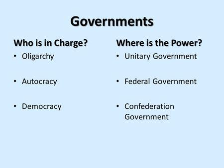 Governments Who is in Charge? Where is the Power? Oligarchy Autocracy