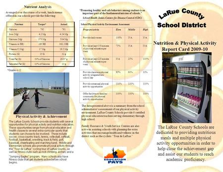 Nutrition & Physical Activity Report Card 2009-10 2007-08 The LaRue County Schools are dedicated to providing nutritious meals and multiple physical activity.