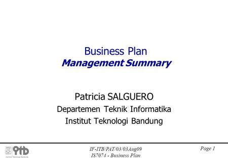 Business Plan Management Summary