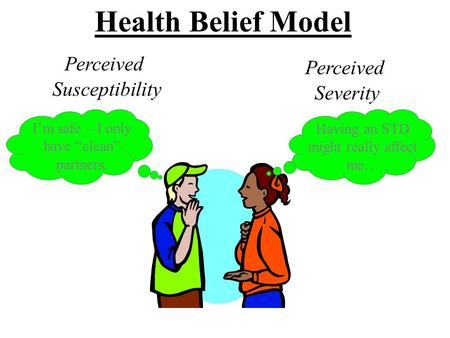 Health Belief Model Perceived Susceptibility Harlem Health Promotion Center/Center for Community Health and Education Perceived Severity I'm safe – I only.
