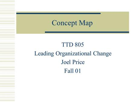 Concept Map TTD 805 Leading Organizational Change Joel Price Fall 01.