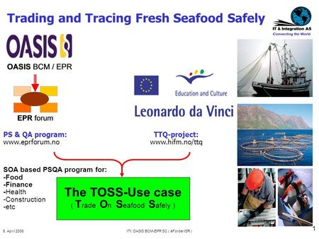 5. April 2006ITI: OASIS BCM-EPR SC ( eFolder ISR ) 1 Trading and Tracing Fresh Seafood Safely TTQ-project: www.hifm.no/ttq PS & QA program: www.eprforum.no.