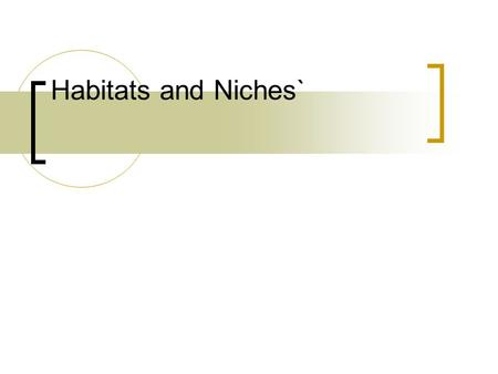 Habitats and Niches`.