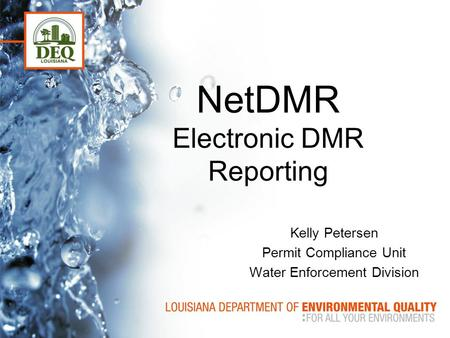 NetDMR Electronic DMR Reporting Kelly Petersen Permit Compliance Unit Water Enforcement Division.