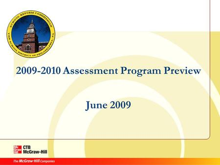 2009-2010 Assessment Program Preview June 2009. Agenda: Intro by SDP Intro to Acuity Distractor Analysis Instructional Resources Student Online Testing.