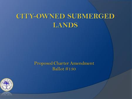 Proposed Charter Amendment Ballot #130. The City of Miami is proposing an amendment to the City Charter creating a process for an area of real estate.