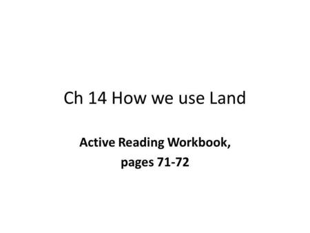 Active Reading Workbook, pages 71-72