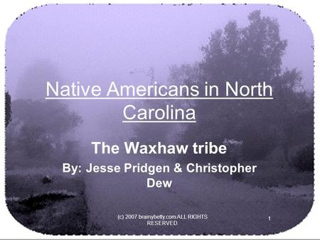 (c) 2007 brainybetty.com ALL RIGHTS RESERVED. 1 Native Americans in North Carolina The Waxhaw tribe By: Jesse Pridgen & Christopher Dew.