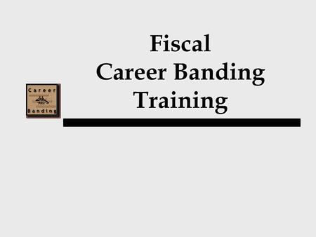 Fiscal Career Banding Training. Training Agenda I.Career Banding Overview II.Introduction of Bands III.Competency Based Pay.