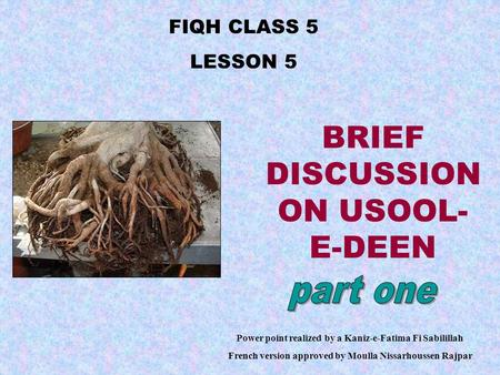 FIQH CLASS 5 LESSON 5 Power point realized by a Kaniz-e-Fatima Fi Sabilillah French version approved by Moulla Nissarhoussen Rajpar BRIEF DISCUSSION ON.